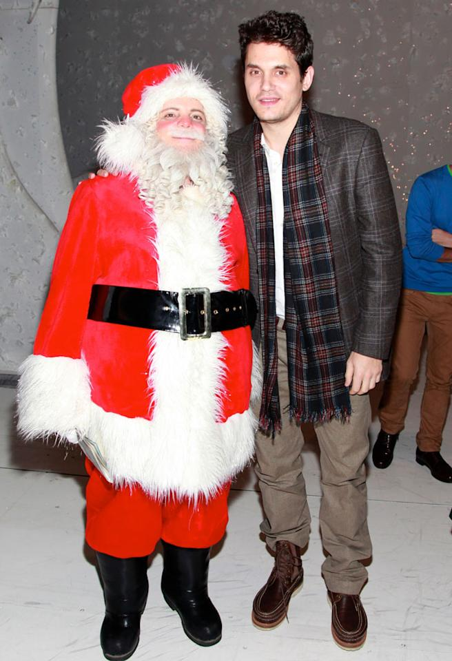 """NEW YORK, NY - DECEMBER 12:  (R) Singer John Mayer visits the cast of Broadway's """"A Christmas Story, The Musical"""" at the Lunt-Fontanne Theatre on December 12, 2012 in New York City.  (Photo by Charles Eshelman/FilmMagic)"""