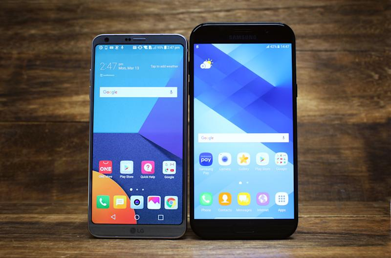 Here's the G6 next to the 16:9 5.7-inch Samsung Galaxy A7 (2017). As you can see the A7 screen is actually bigger overall.