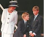 Diana, shown here with her sons in August 1995, died in 1997 aged 36 in a high-speed car crash in Paris