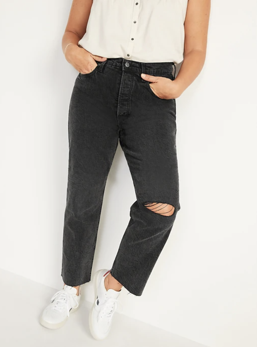 Extra High-Waisted Button-Fly Sky-Hi Straight Black Ripped Jeans (Photo via Old Navy)
