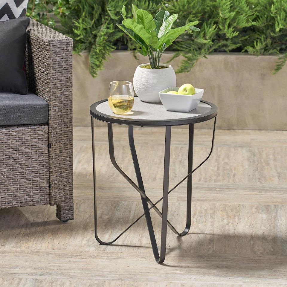 Noble House Outdoor Ceramic Tile Side Table (Photo: Walmart)