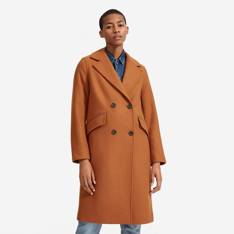 """<p><strong>everlane</strong></p><p>everlane.com</p><p><strong>$298.00</strong></p><p><a href=""""https://go.redirectingat.com?id=74968X1596630&url=https%3A%2F%2Fwww.everlane.com%2Fproducts%2Fwomens-double-breasted-coat-toffee&sref=https%3A%2F%2Fwww.prevention.com%2Fbeauty%2Fstyle%2Fg29473259%2Fbest-winter-coats%2F"""" rel=""""nofollow noopener"""" target=""""_blank"""" data-ylk=""""slk:Shop Now"""" class=""""link rapid-noclick-resp"""">Shop Now</a></p>"""
