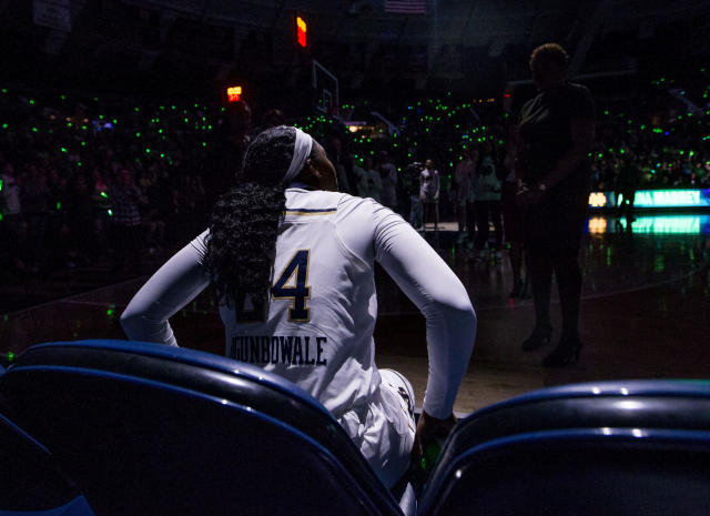 FILE- In this Feb. 21, 2019, file photo Notre Dame's Arike Ogunbowale looks on before an NCAA college basketball game against Duke in South Bend, Ind. The heroine of Notre Dames national championship run last year, who won both Final Four and title games with dramatic, last-second shots, is ready for her last ride through the bracket, starting Saturday when the Fighting Irish takes on Bethune-Cookman in the first round. (AP Photo/Robert Franklin, File)