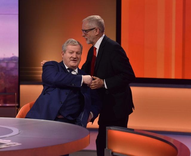 SNP Westminster Leader Ian Blackford greets Jeremy Corbyn on the BBC's Andrew Marr Show