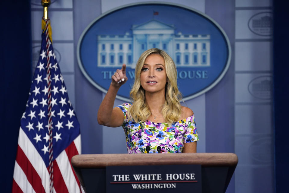 White House press secretary Kayleigh McEnany speaks during a press briefing at the White House, Wednesday, July 1, 2020, in Washington. (AP Photo/Evan Vucci)