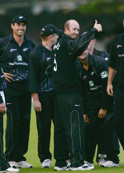 LONDON - JULY 10:  Chris Harris of New Zealand celebrates taking his 200th wicket, that of Ridley Jacobs of the West Indies during the New Zealand v West Indies Natwest One Day International Final at Lords Cricket Ground on July 10, 2004 in London, England. (Photo by Tom Shaw/Getty Images)