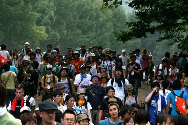On day three of 2008's Fuji Rock Festival in Japan, music fans wandered between the stages to listen to popular bands including Kasabian, Gossip and My Bloody Valentine.