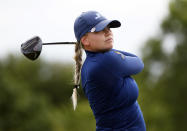 Matilda Castren, of Finland, plays her shot from the first tee during the second round of the LPGA Volunteers of America Classic golf tournament in The Colony, Texas, Friday, July 2, 2021. (AP Photo/Ray Carlin)