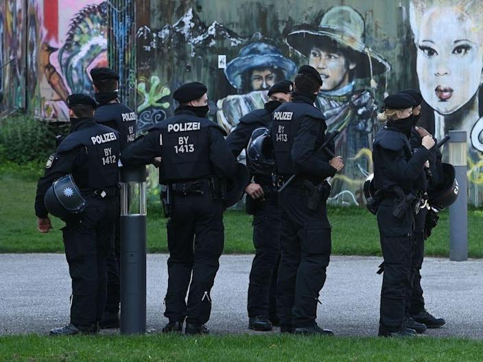 "Police officers at a demonstration against COVID-19 restrictions in Munich, southern Germany, on September 12, 2020. <p class=""copyright"">CHRISTOF STACHE/AFP via Getty Images</p>"