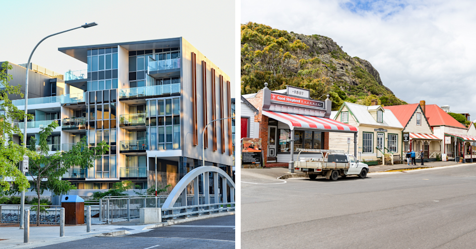 Exterior of a modern apartment block and a rural town in Tasmania.