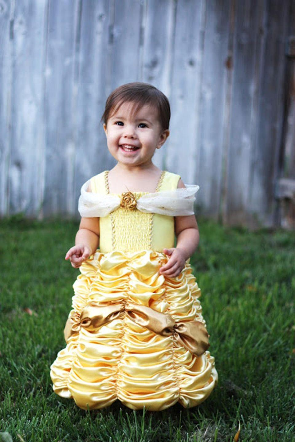 """<p>Your toddler will be thrilled to wear this sweet dress straight out of <em>Beauty and the Beast</em>.</p><p><strong>Get the tutorial at <a href=""""http://www.homemadetoast.com/2012/10/belle-princess-dress-costume-pattern.html"""" rel=""""nofollow noopener"""" target=""""_blank"""" data-ylk=""""slk:Homemade Toast"""" class=""""link rapid-noclick-resp"""">Homemade Toast</a>.</strong> </p>"""