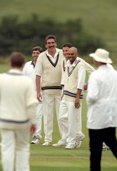 29 Jun 1999:  Jimmy Adams of the West Indies shares a joke with David Emery, Jolyon Armstrong and Mark Newton during the Allsport Cricket Match at Wormsley in England. \ Mandatory Credit: Mike Hewitt /Allsport