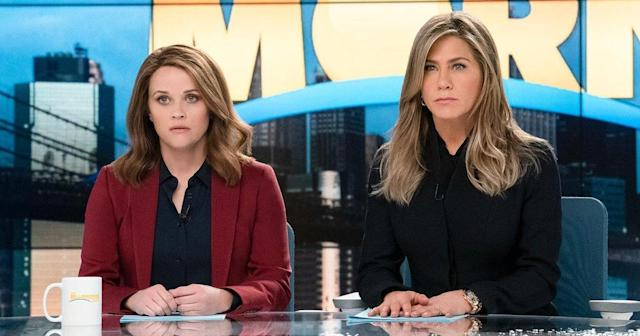Reese Witherspoon and Jennifer Aniston in <em>The Morning Show</em>. (Photo: Apple TV+)