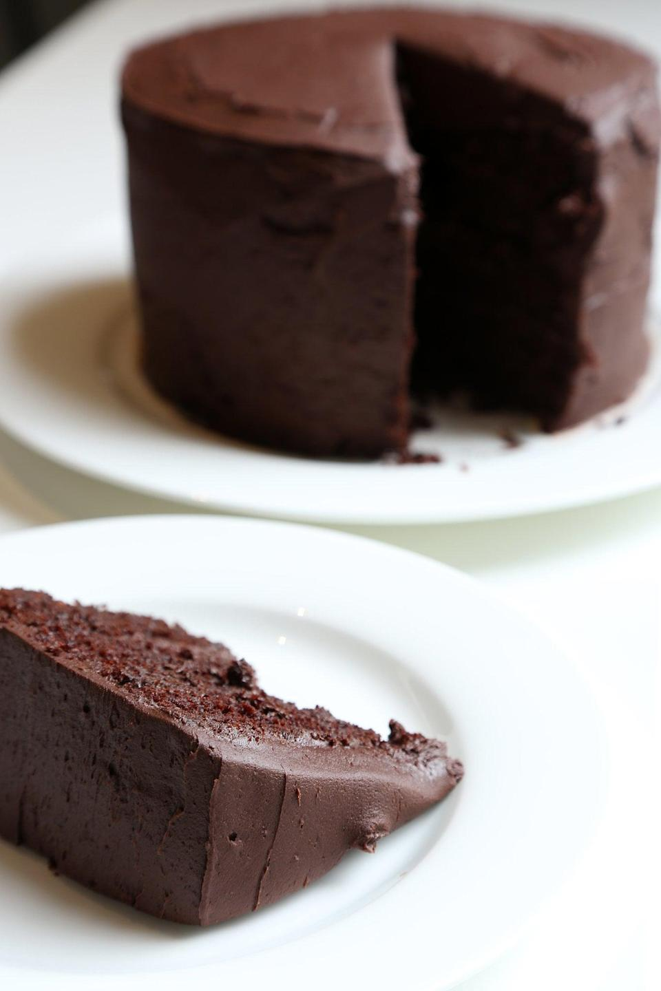"""<p>Imagine: a chocolate cake with chocolate buttercream frosting. Yup, that's what you get when you make this moist, almost fudge-like delicacy. Due to the addition of cocoa powder, this treat isn't too tooth-achingly sweet but also not too bitter and dark either - aka the best of both worlds.</p> <p><strong>Get the recipe</strong>: <a href=""""https://www.popsugar.com/food/Chocolate-Cake-Chocolate-Buttercream-Recipe-34247299"""" class=""""link rapid-noclick-resp"""" rel=""""nofollow noopener"""" target=""""_blank"""" data-ylk=""""slk:chocolate cake"""">chocolate cake</a></p>"""