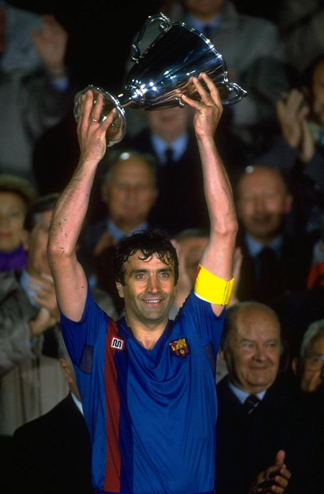 May 1989: Team Captain Alexanco of Barcelona holds the trophy aloft after their victory in the European Cup Winners Cup final against Sampdoria at the Wankdorf Stadium in Berne, Switzerland. Barcelona won the match 2-0. \ Mandatory Credit: Allsport UK /Allsport