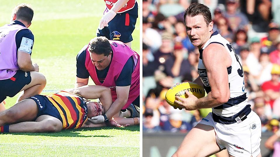 Patrick Dangerfield (pictured right) running with the ball and Jake Kelly (pictured left) knocked out.