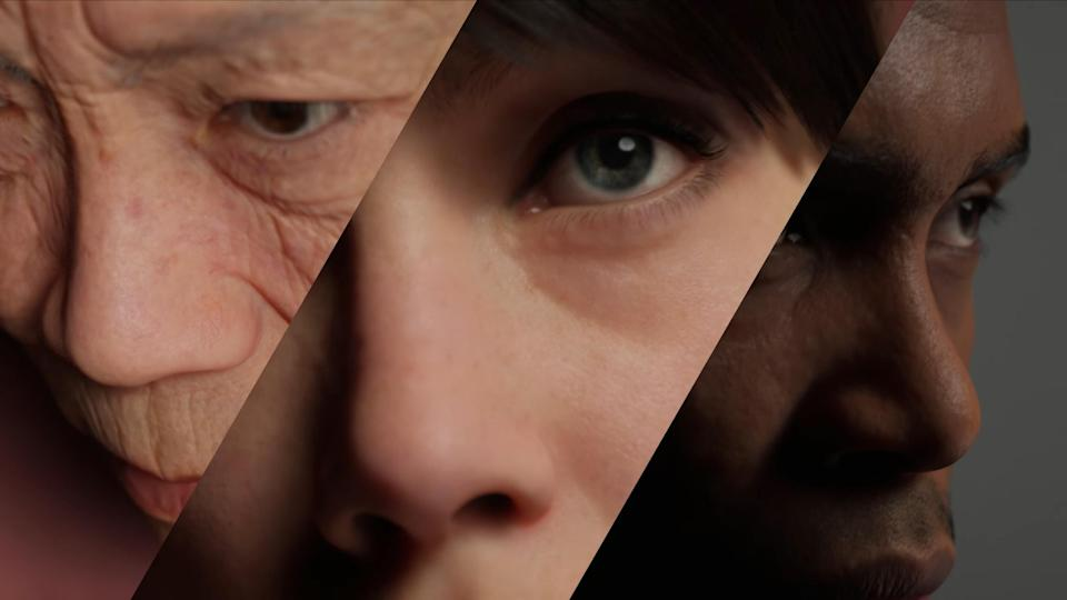 Close-up of CG faces showing details of skin reflectivity and wrinkles.