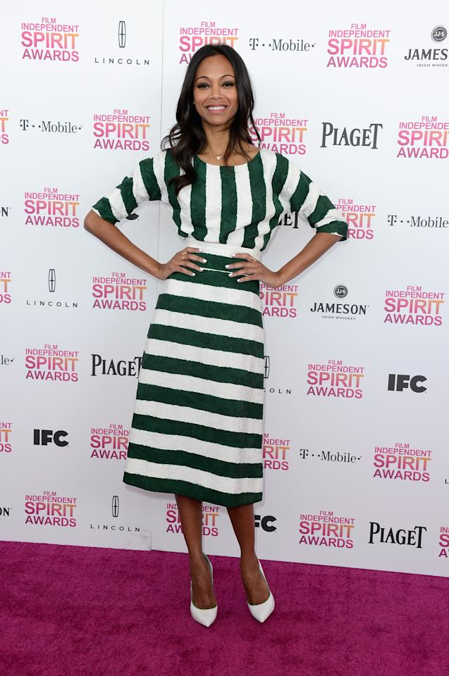 SANTA MONICA, CA - FEBRUARY 23:  Actress Zoe Saldana attends the 2013 Film Independent Spirit Awards at Santa Monica Beach on February 23, 2013 in Santa Monica, California.  (Photo by Frazer Harrison/Getty Images)