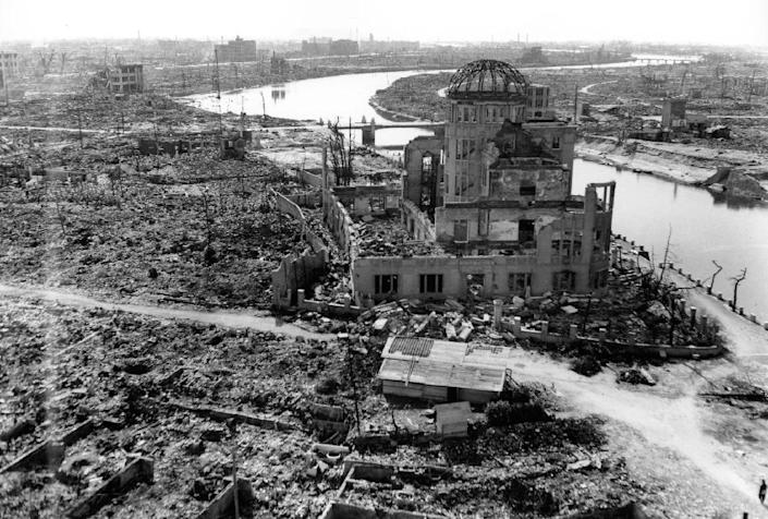 The Japanese city of Hiroshima is shown three months after the atomic bomb was dropped by B-29 bomber Enola Gay in 1945 (AFP Photo/)