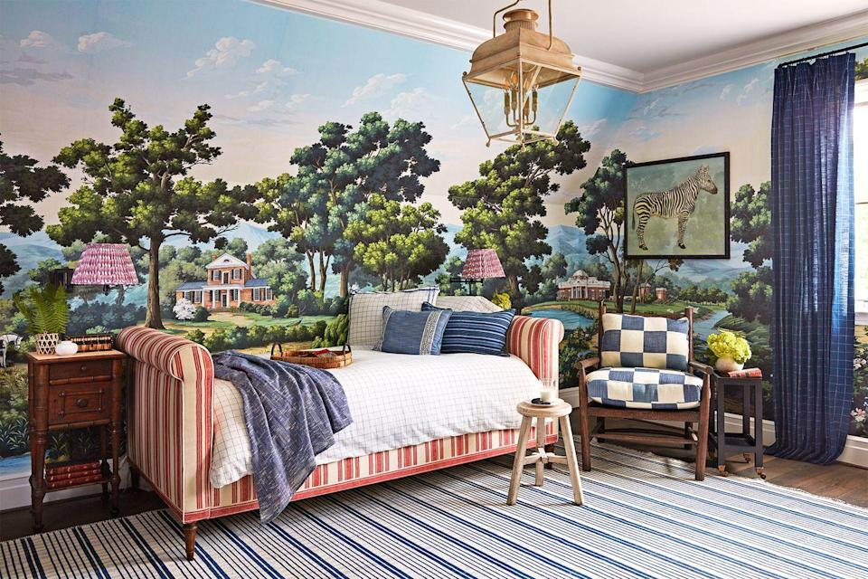 """<p>It's not surprise that children love places where their imaginations can run wild. Here, interior designer <a href=""""https://www.housebeautiful.com/room-decorating/a29342573/whole-home-2019-kids-rooms/"""" rel=""""nofollow noopener"""" target=""""_blank"""" data-ylk=""""slk:Amy Berry"""" class=""""link rapid-noclick-resp"""">Amy Berry</a> wrapped this room in a mural of the Virginia countryside. """"I thought of it as: How will they remember this when they grow up?"""" she says. Plus, it'll outlast those earlier crib-dwelling days and even look cool for a teenager. </p>"""