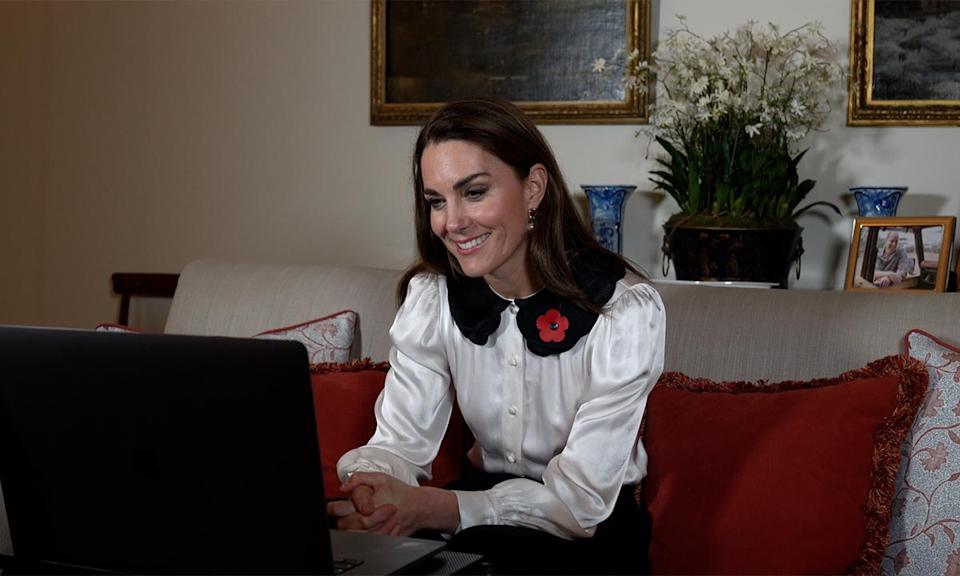 Image of Kate Duchess of Cambridge at Kensington Palace in Zoom call with bereaved military families.
