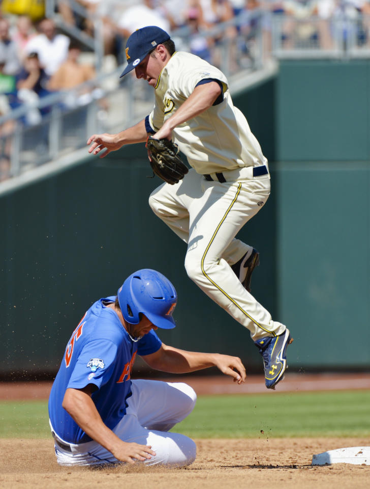Florida's Brian Johnson, bottom, is safe at second base on a throwing error as Kent State shortstop Jimmy Rider leaps to avoid him in the second inning of an NCAA College World Series elimination baseball game in Omaha, Neb., Monday, June 18, 2012. (AP Photo/Ted Kirk)