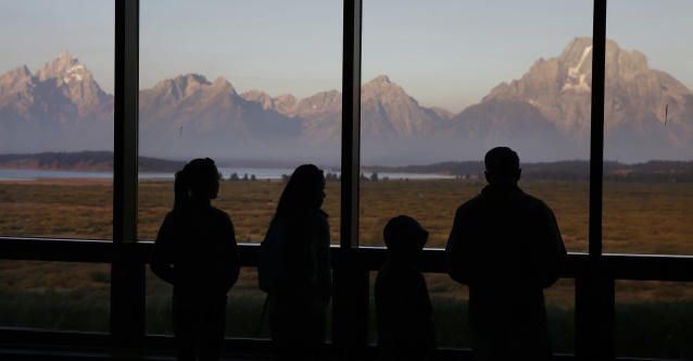 The Great Room at the Jackson Lake Lodge, in Grand Teton National Park, north of Jackson Hole, Wyo. (AP Photo/Brennan Linsley)