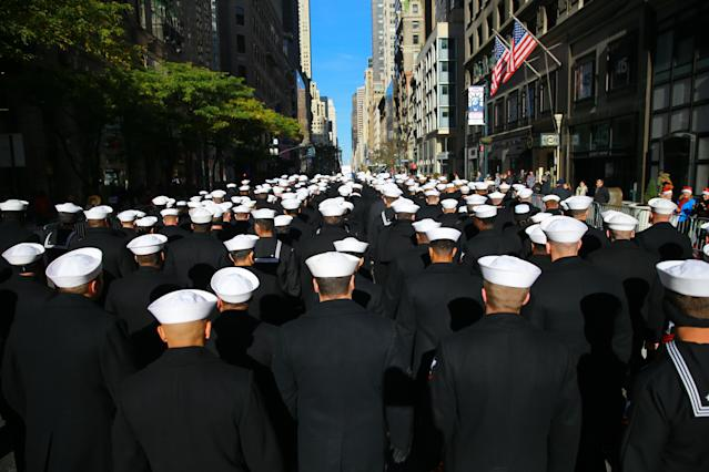 <p>The United States Navy marches up Fifth Avenue the Veterans Day parade in New York on Nov. 11, 2017. (Photo: Gordon Donovan/Yahoo News) </p>