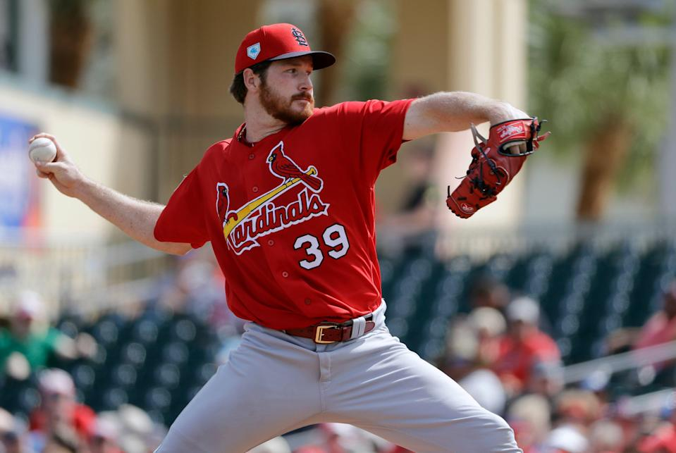 St. Louis Cardinals pitcher Miles Mikolas throws during the first inning of an exhibition spring training baseball game against the Miami Marlins Saturday, Feb. 23, 2019, in Jupiter, Fla. (AP Photo/Jeff Roberson)