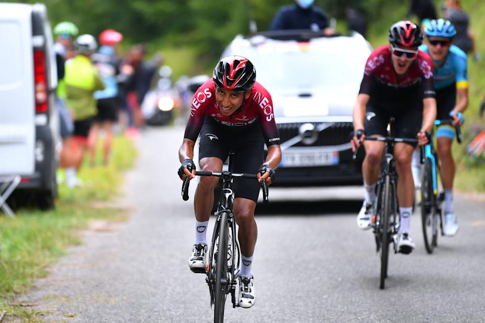 SARRANCOLIN, FRANCE - AUGUST 03: Egan Bernal of Colombia and Team Ineos / Pavel Sivakov of Russia and Team Ineos / Aleksandr Vlasov of Russia and Astana Pro Team / during the 44th La Route d'Occitanie - La Depeche du Midi 2020, Stage 3 a 163,5km stage from  Saint Gaudens to Col de Beyrède 1417m / @RouteOccitanie / #RDO2020 / on August 03, 2020 in Sarrancolin, France. (Photo by Justin Setterfield/Getty Images)