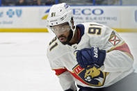 Florida Panthers left wing Anthony Duclair (91) pumps his fist after scoring against the Tampa Bay Lightning during the third period of an NHL hockey game Saturday, April 17, 2021, in Tampa, Fla. (AP Photo/Chris O'Meara)