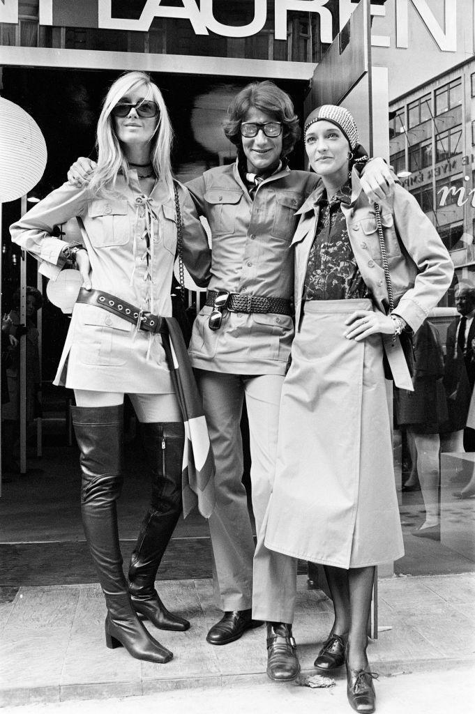 <p>Yves Saint Laurent with his muses Loulou and Betty Catrou . There are so many style pointers to make note of, including OTK boots, this lace-up shirtdress, and the right way to wear a safari jacket. <br></p>