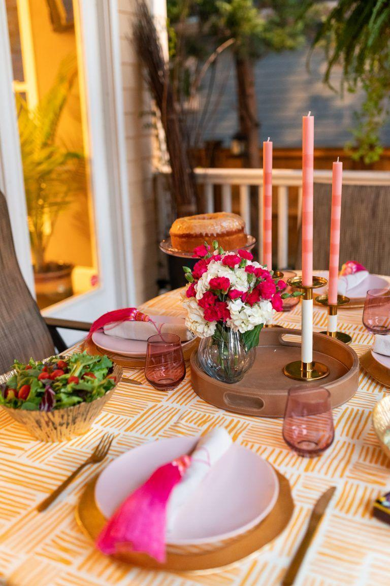"""<p>Brighten up your holiday table by choosing livelier shades of classic fall colors. Megan Pinckney opts for an electric pink paired with a warm golden hue for a cheerful tablesetting. </p><p><a class=""""link rapid-noclick-resp"""" href=""""http://shadesofpinck.com/posthouse/"""" rel=""""nofollow noopener"""" target=""""_blank"""" data-ylk=""""slk:See more at Shades of Pinck"""">See more at Shades of Pinck</a></p>"""