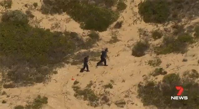 Officers went through the Salt Creek sand dunes, looking for evidence. Picture: 7 News