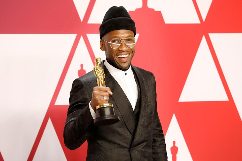 "Mahershala Ali with his award for Best Actor in a Supporting Role for ""Green Book"" at the 91st Annual Academy Awards. (Photo: Barcroft Media via Getty Images)"