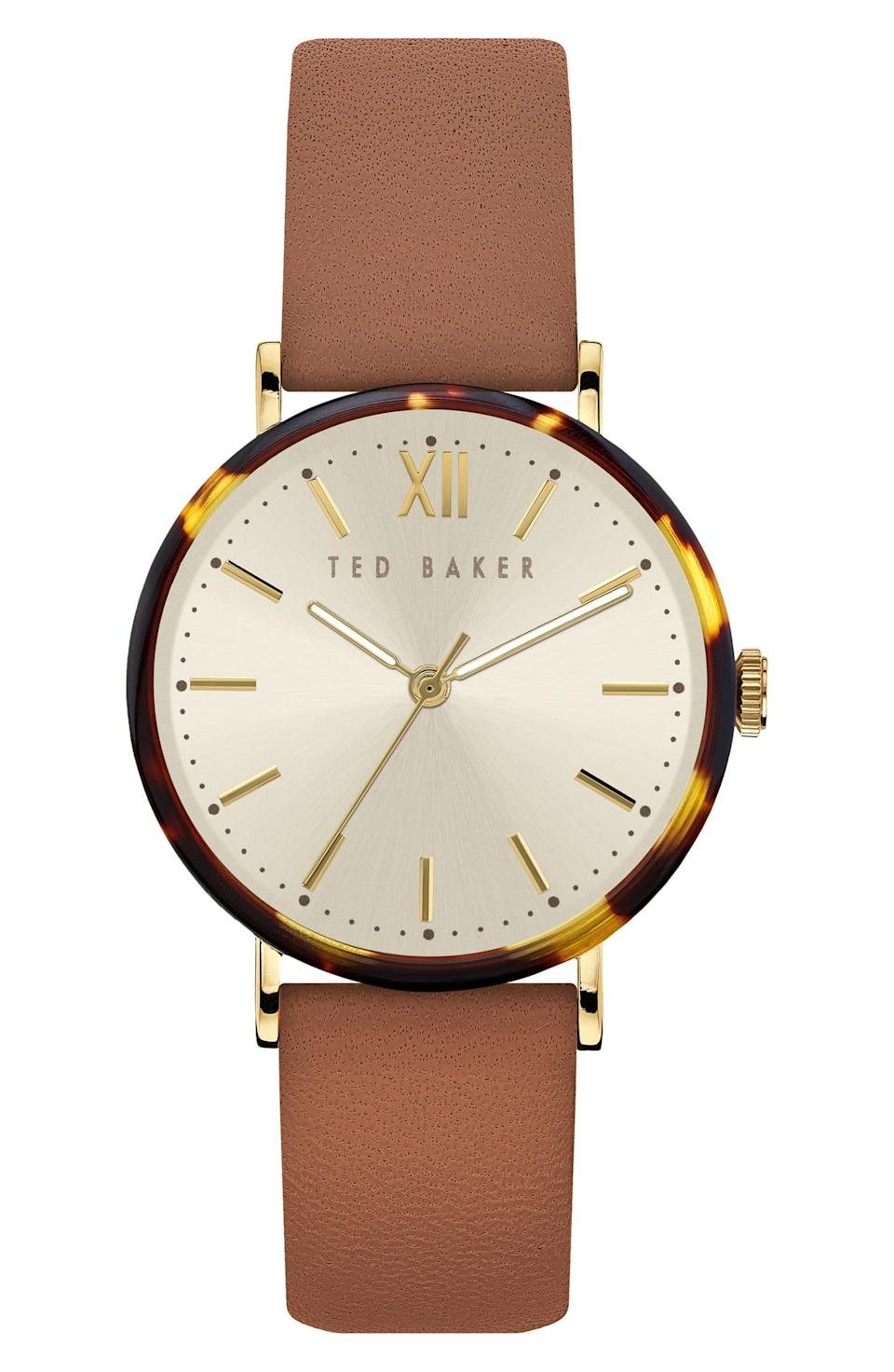 Ted Baker Phylipa Leather Strap Watch, 37mm. Image via Nordstrom.