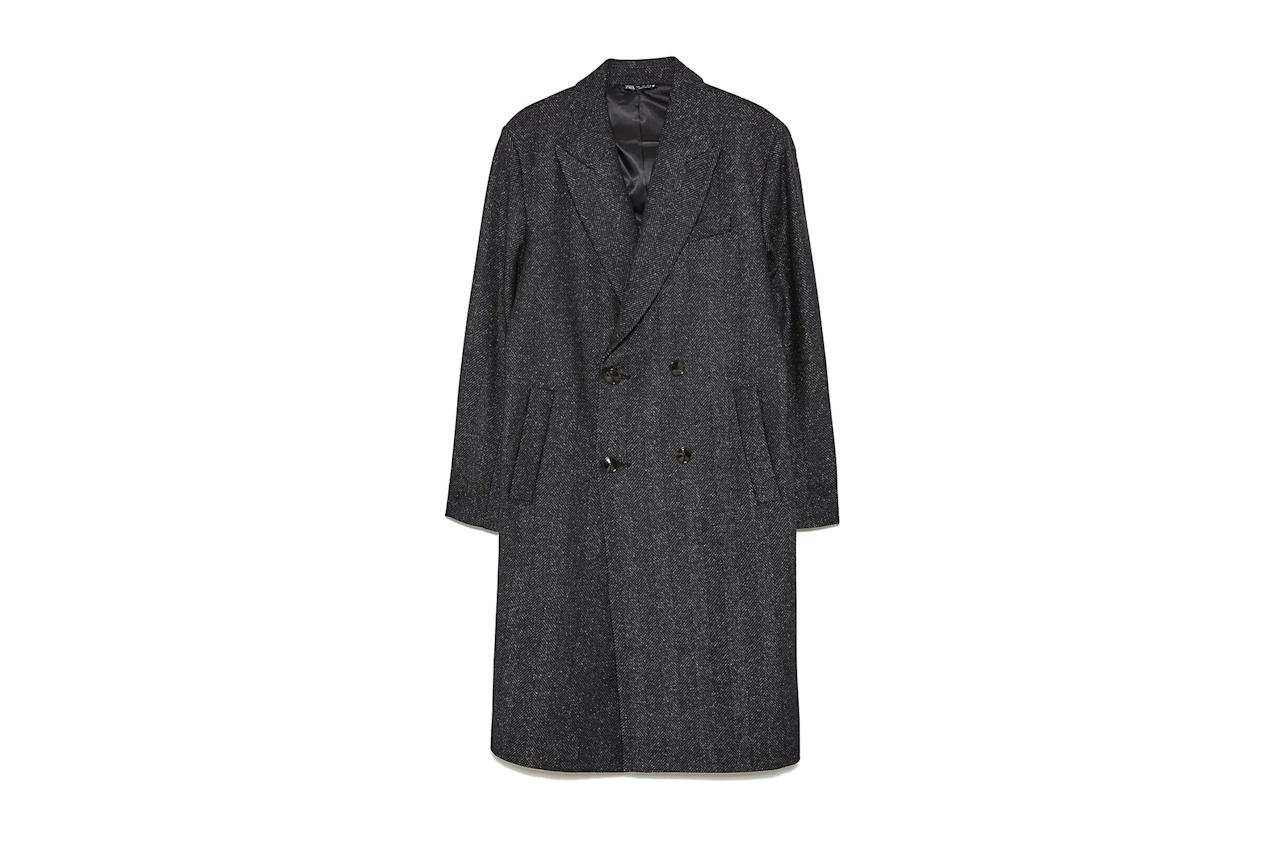 "The double-breasted buttons and finely-detailed pattern make this one extra polished. $249, Zara. <a href=""https://www.zara.com/us/en/herringbone-textured-weave-coat-p05501304.html?v1=30865197&v2=1282743"">Get it now!</a>"