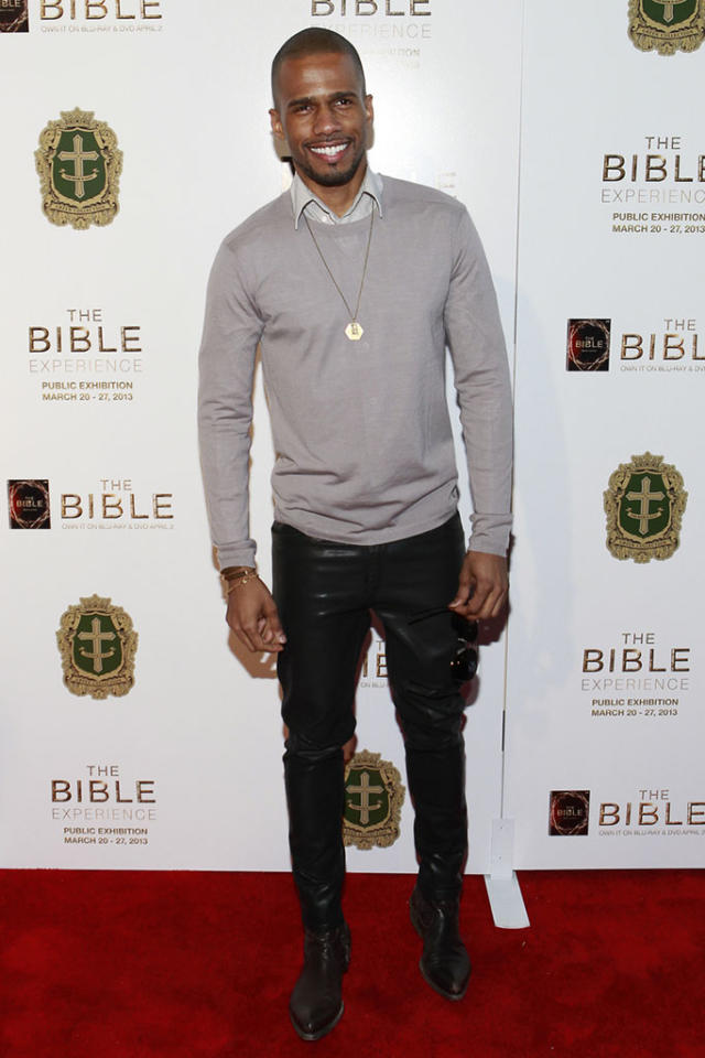 "Eric West arrives at ""The Bible Experience"" opening night gala, a rare exhibit of biblical artifacts, in New York City on Tuesday, March 19 in New York."