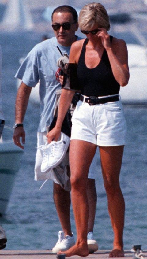 Princess Diana and Dodi Fayed in St Tropez on August 22, 1997 - just a few days before they were killed in the Paris car crash. - Credit: AP