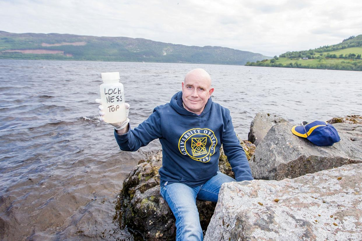 Otago University scientist Neil Gemmell from New Zealand takes environmental DNA samples from Loch Ness (Picture: SWNS)