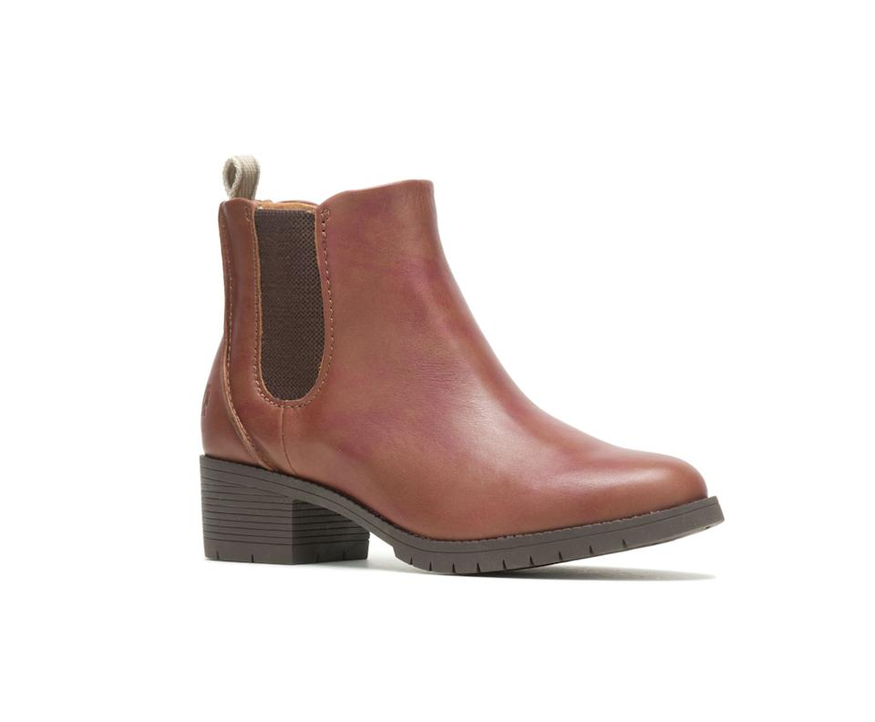 Hadley Chelsea Boot in Cognac Leather. Image via Hush Puppies.