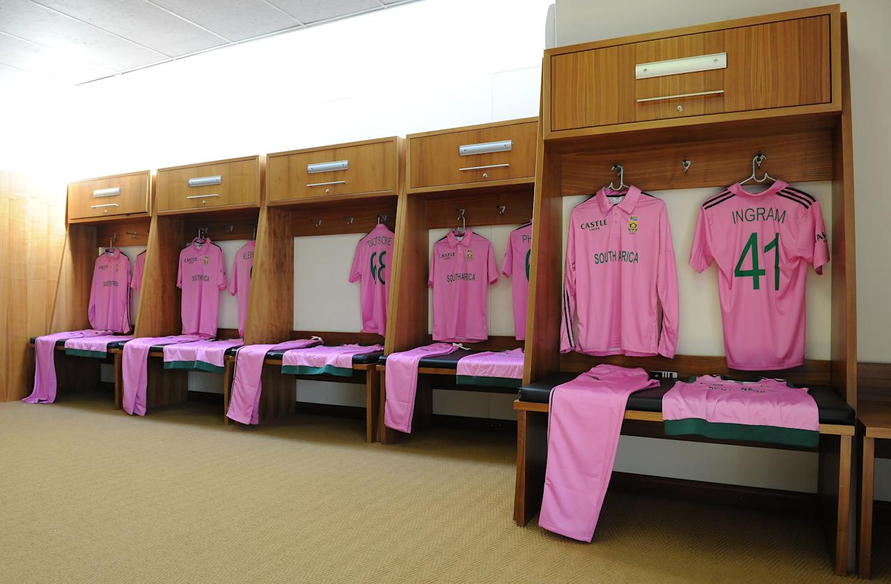 JOHANNESBURG, SOUTH AFRICA - MARCH 17: Uniforms hang in the changeroom during the 3rd Momentum ODI match between South Africa and Pakistan at Bidvest Wanderers Stadium on March 17, 2013 in Johannesburg, South Africa. (Photo by Duif du Toit/Gallo Images/Getty Images)