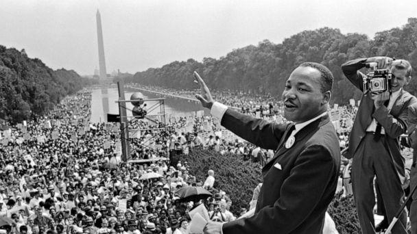 PHOTO: Dr. Martin Luther King Jr at the 'March on Washington for Jobs and Freedom' in which he gave his 'I Have a Dream' speech on the Mall in Washington on Aug. 28, 1963. (AFP via Getty Images)