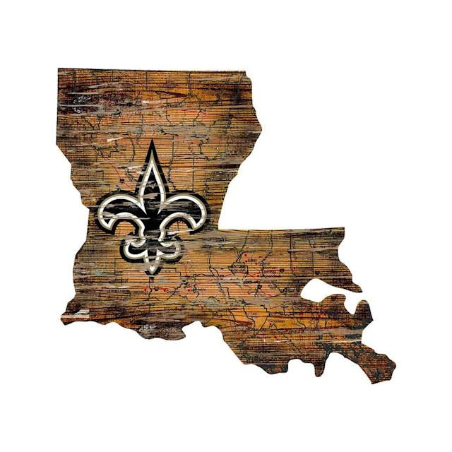 Saints Distressed State with Logo Sign