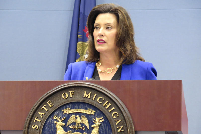 """Gov. Gretchen Whitmer speaks at a news conference on Wednesday, Aug. 28, 2019, at her office in Lansing, Mich. She is seeking to pressure Republican legislative leaders to propose a """"real"""" alternative to boosting road spending after they rejected her 45-cents-a-gallon fuel tax increase. (AP Photo/David Eggert)"""