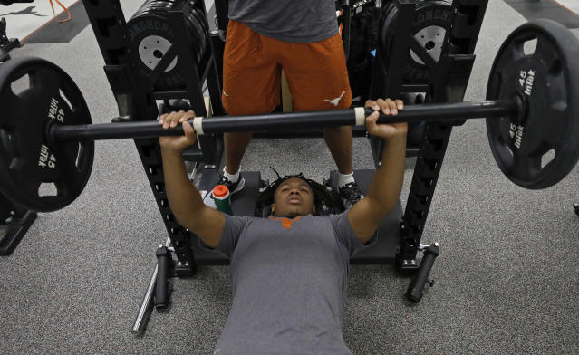 Texas Longhorns' Keaontay Ingram works out Wednesday Sept. 4, 2019 in Austin, Tx. ( Photo by Edward A. Ornelas )
