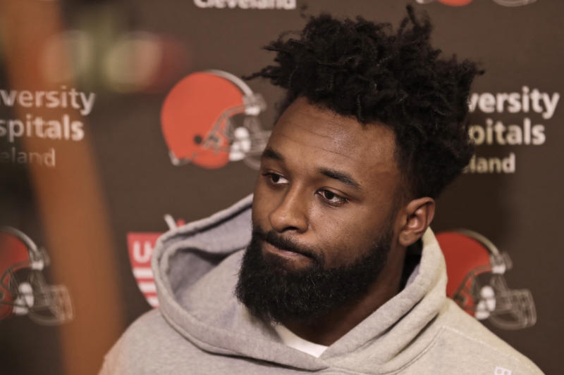 Cleveland Browns wide receiver Jarvis Landry answers questions at the NFL football team's training camp facility, Monday, Dec. 30, 2019, in Berea, Ohio. Head coach Freddie Kitchens was dismissed shortly after the Browns returned to team headquarters following a 33-23 loss to the lowly Cincinnati Bengals. (AP Photo/Tony Dejak)
