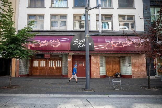 Nightclubs like The Roxy on Vancouver's Granville Street were set to fully reopen Sept. 7 under Step 4 of the province's restart plan, a target based on cases and hospitalizations staying low.  (Ben Nelms/CBC - image credit)