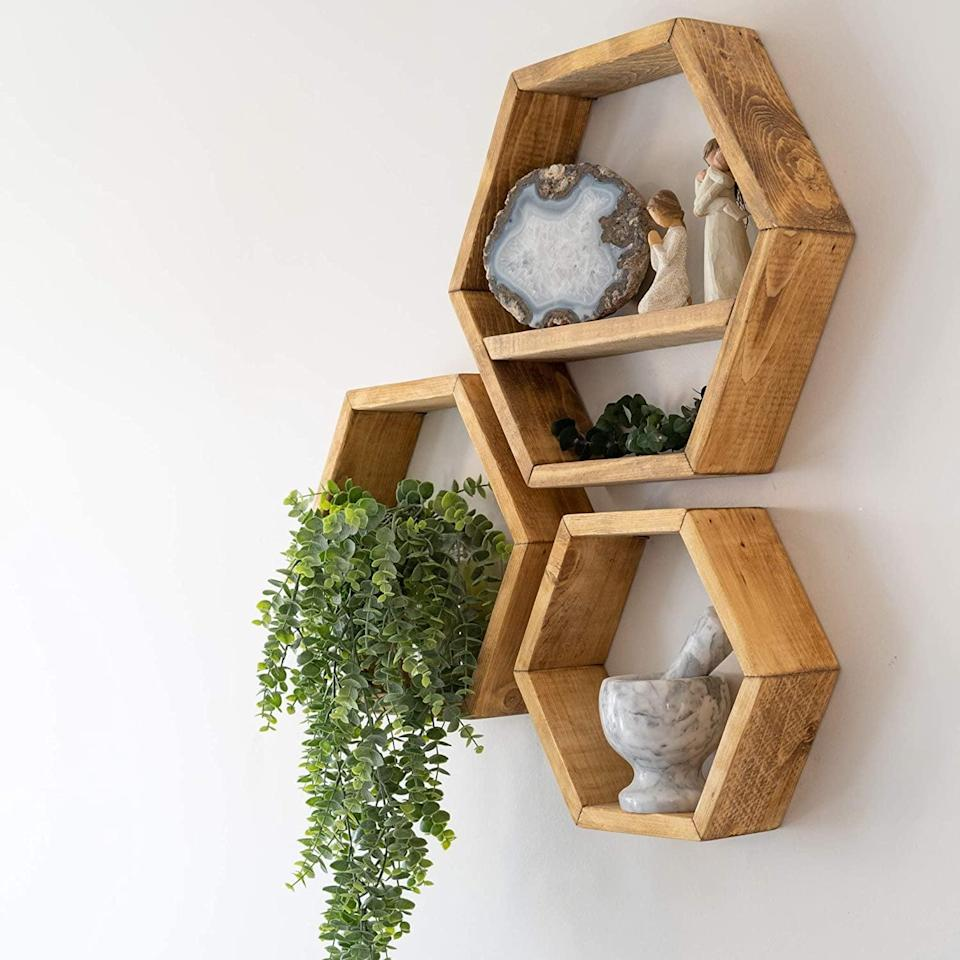 <p>Use your wallspace for storage with the <span>Farmhouse Chic Wall Hexagon Floating Shelves – Set of 3</span> ($60).</p>