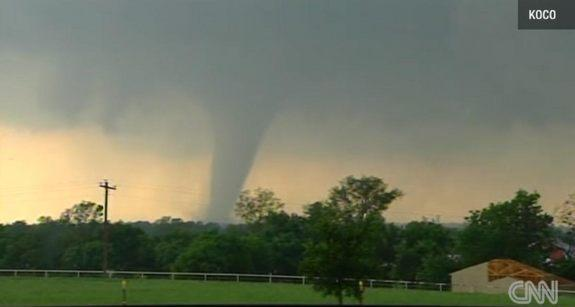 The Moore, Okla. tornado touching down in Oklahoma City on May 20, 2013.